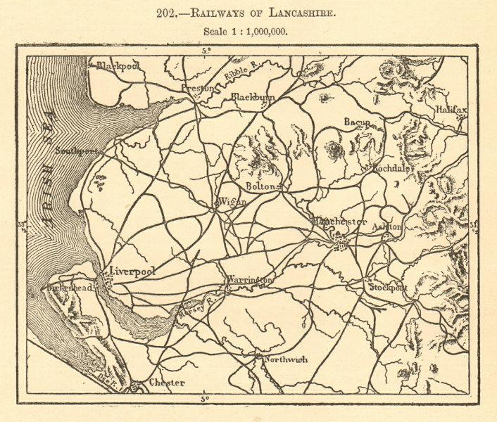 Associate Product Railways of Lancashire. Sketch map 1886 old antique vintage plan chart