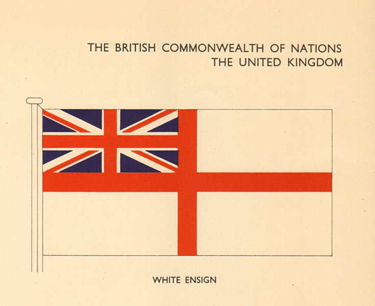 Associate Product UNITED KINGDOM FLAGS. UK. White Ensign 1955 old vintage print picture