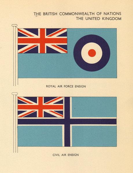 Associate Product UNITED KINGDOM FLAGS. UK. Royal Air Force Ensign, Civil Air Ensign 1955 print