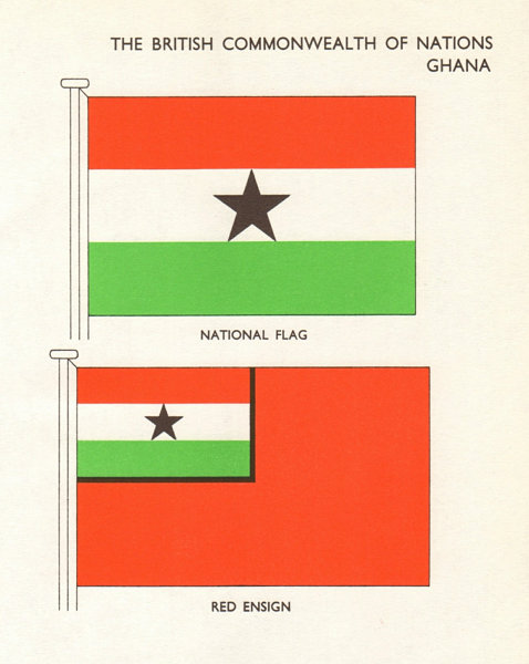 Associate Product GHANA FLAGS. National Flag, Red Ensign 1965 old vintage print picture