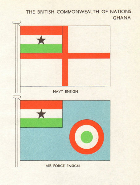 Associate Product GHANA FLAGS. Navy Ensign, Air Force Ensign 1965 old vintage print picture