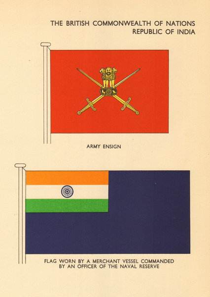 INDIA FLAGS. Republic of India. Army Ensign. Mercant Naval Reserve Officer 1955