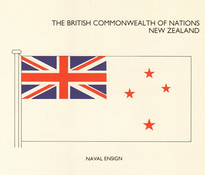 Associate Product NEW ZEALAND FLAGS. Naval Ensign 1979 old vintage print picture