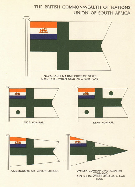 Associate Product UNION OF SOUTH AFRICA FLAGS. Naval Marine Chief of Staff Admiral Commodore 1955