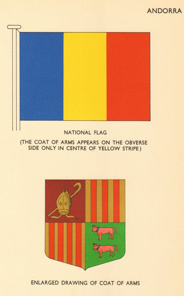 Associate Product ANDORRA FLAGS. National Flag. Enlarged drawing of Coat of Arms 1958 old print