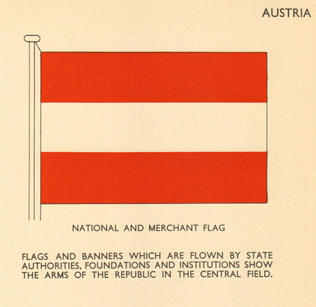 Associate Product AUSTRIA FLAGS. National and Merchant Flag 1955 old vintage print picture