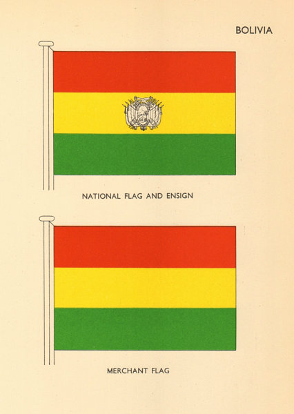 Associate Product BOLIVIA FLAGS. National Flag and Ensign, Merchant Flag 1955 old vintage print