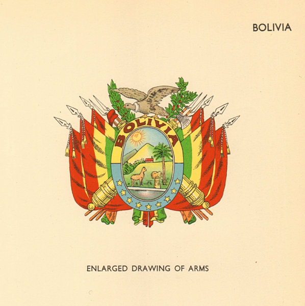 Associate Product BOLIVIA FLAGS. Enlarged Drawing of Arms 1955 old vintage print picture