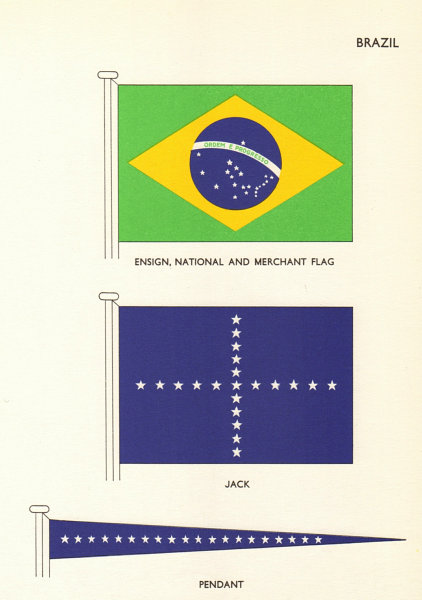 Associate Product BRAZIL FLAGS. Ensign, National and Merchant Flag, Jack, Pendant 1964 old print