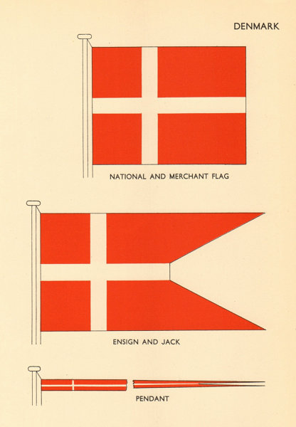 Associate Product DENMARK FLAGS. National and Merchant Flag, Ensign and Jack, Pendant 1955 print