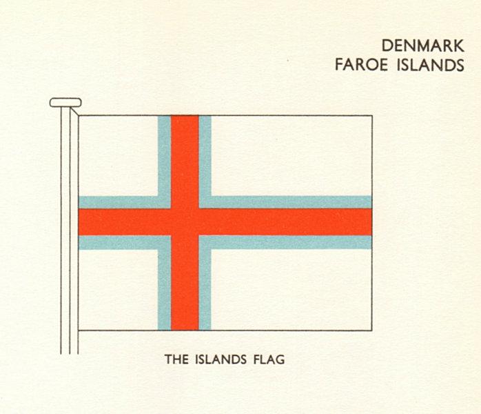 Associate Product DENMARK FLAGS. Denmark Faroe Islands. The Island's Flag 1964 old vintage print