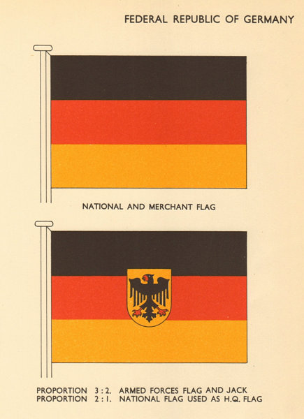 Associate Product GERMANY FLAGS. Federal Republic of Germany. National and Merchant Flag 1958