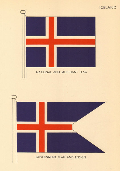 Associate Product ICELAND FLAGS. National and Merchant Flat, Government Flag and Ensign 1955