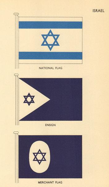 Associate Product ISRAEL FLAGS. National Flag, Ensign, Merchant Flag 1955 old vintage print