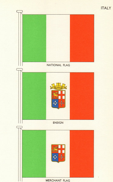 Associate Product ITALY FLAGS. National Flag, Ensign, Merchant Flag 1964 old vintage print