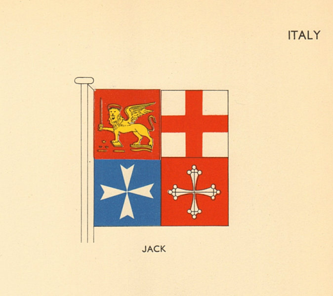 Associate Product ITALY FLAGS. Jack 1955 old vintage print picture