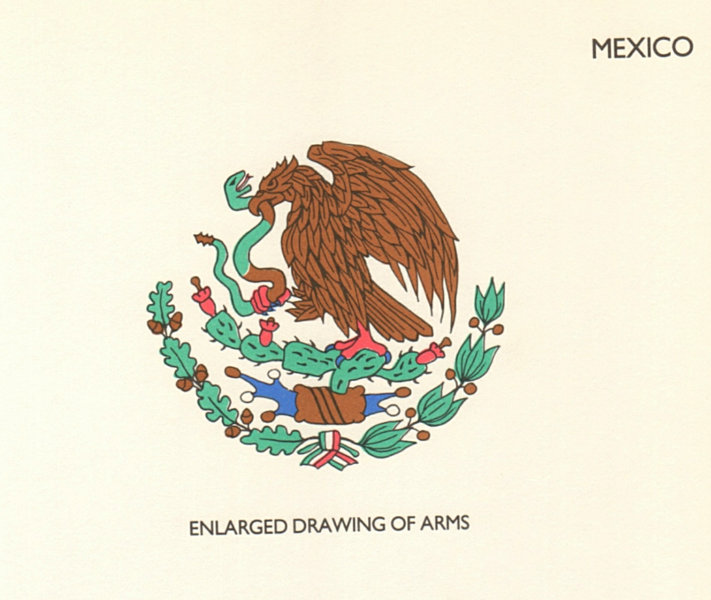 Associate Product MEXICO FLAGS. Enlarged Drawing of Arms 1985 old vintage print picture