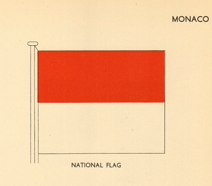 Associate Product MONACO FLAGS. National Flag 1955 old vintage print picture
