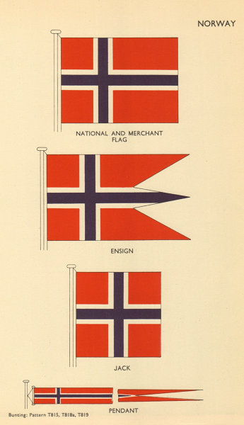 Associate Product NORWAY FLAGS. Norway. National and Merchant Flag, Ensign, Jack, Pendant 1955