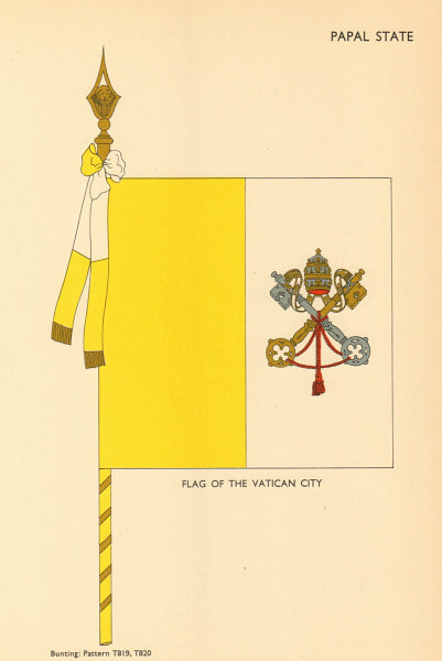 Associate Product VATICAN FLAGS. Papal State. Flag of the Vatican City 1955 old vintage print