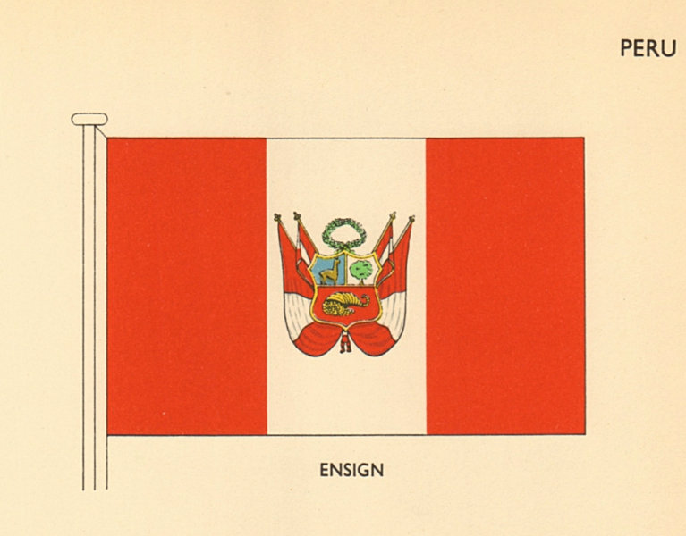 Associate Product PERU FLAGS. Ensign 1958 old vintage print picture