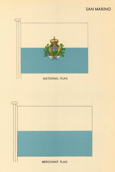 Associate Product SAN MARINO FLAGS. National Flag, Merchant Flag 1955 old vintage print picture