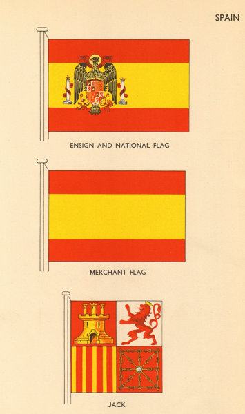 Associate Product SPAIN FLAGS. Ensign and National Flag, Merchant Flag, Jack 1955 old print