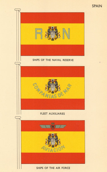Associate Product SPAIN FLAGS. Naval Reserve & Air Force ships, Fleet Auxiliaries 1956 old print
