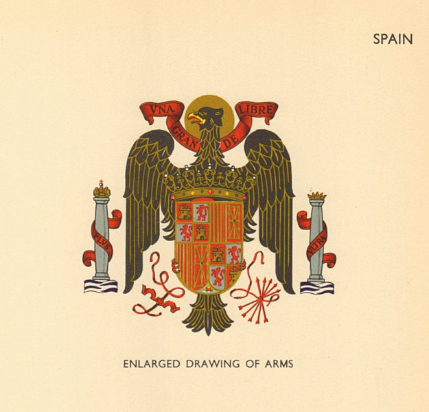 Associate Product SPAIN FLAGS. Enlarged Drawing of Arms 1955 old vintage print picture
