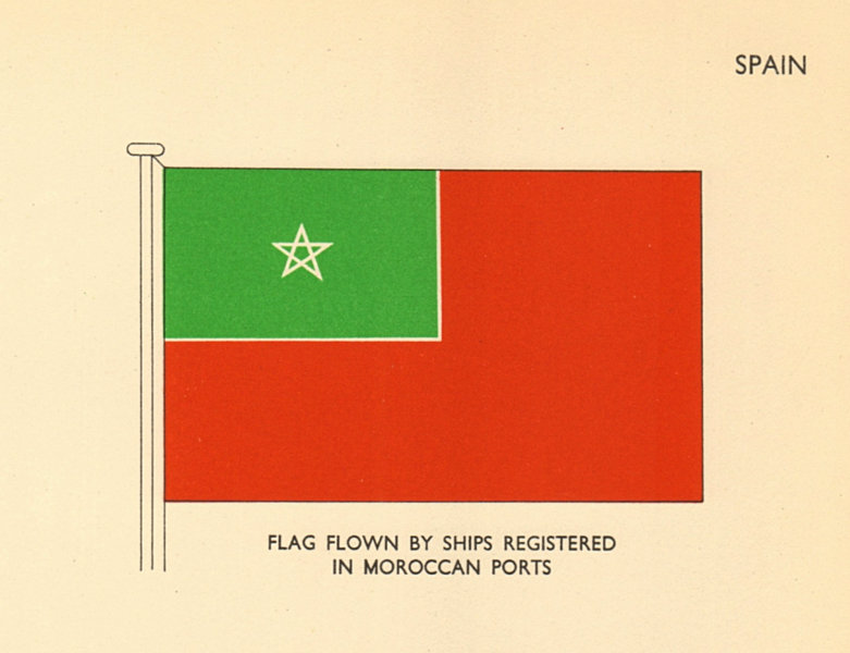 Associate Product SPAIN FLAGS. Flag flown by ships registered in Moroccan ports 1955 old print