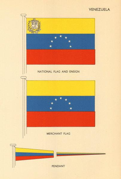 Associate Product VENEZUELA FLAGS. National Flag and Ensign, Merchant Flag, Pendant 1955 print