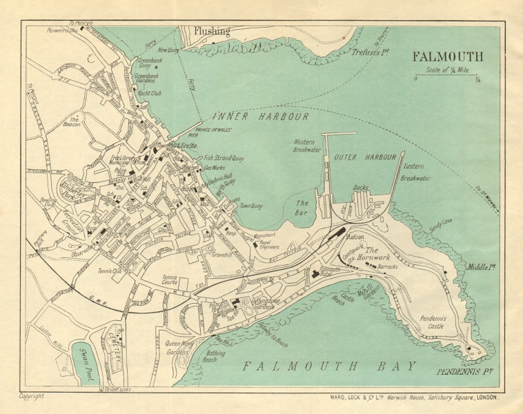 Associate Product FALMOUTH vintage town/city plan. Cornwall. WARD LOCK 1926 old vintage map