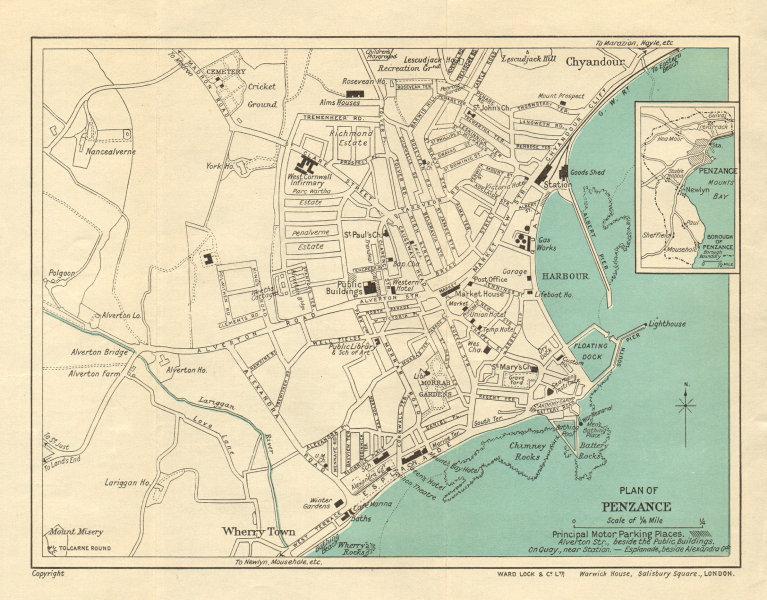 Associate Product PENZANCE vintage town/city Plan. Cornwall. WARD LOCK 1936 old vintage map