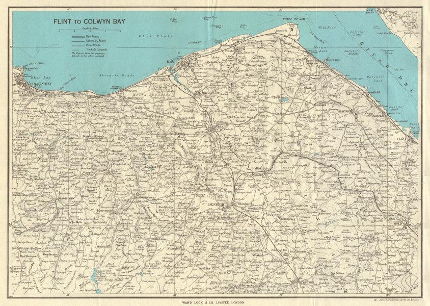 Associate Product NORTH EAST WALES. Flint Rhyl Colwyn Bay Denbigh River Dee. WARD LOCK 1961 map