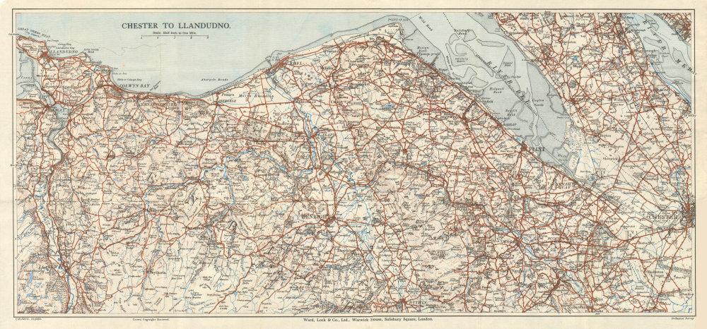 Associate Product NORTH EAST WALES Chester Rhyl Deeside Colwyn Bay Llandudno. WARD LOCK 1934 map