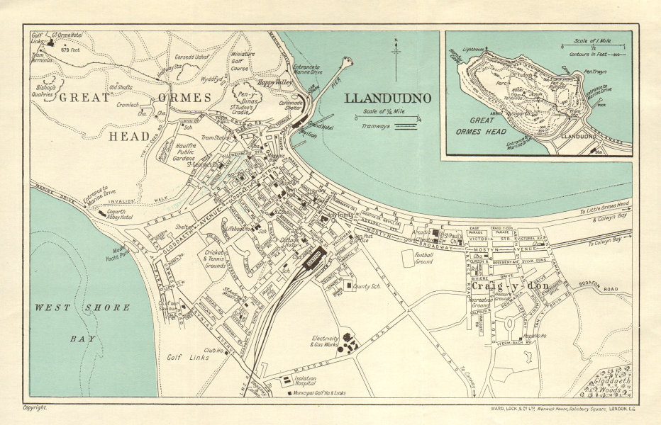 Associate Product LLANDUDNO vintage town/city plan. Great Orme's Head. Wales. WARD LOCK 1934 map