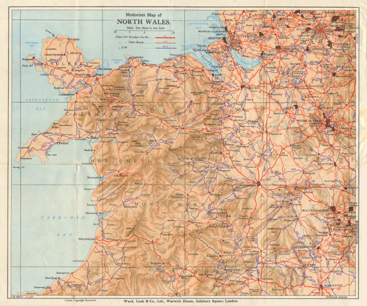 Associate Product Motorists' Map of North Wales. WARD LOCK 1934 old vintage plan chart