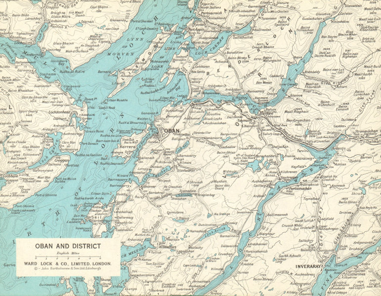 Associate Product OBAN district Firth of Lorn Loch Awe Mull Scottish Highlands. WARD LOCK 1970 map