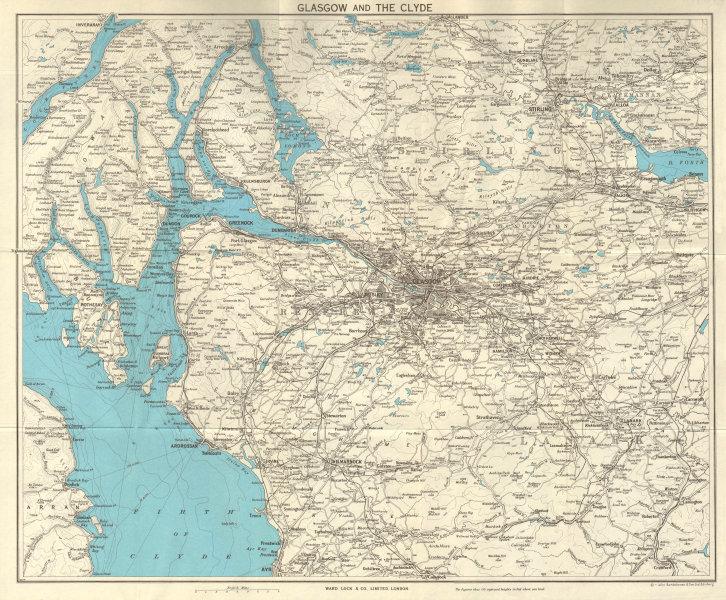 Associate Product GLASGOW & THE CLYDE. Scotland. Stirling Greenock Loch Lomond. WARD LOCK 1961 map
