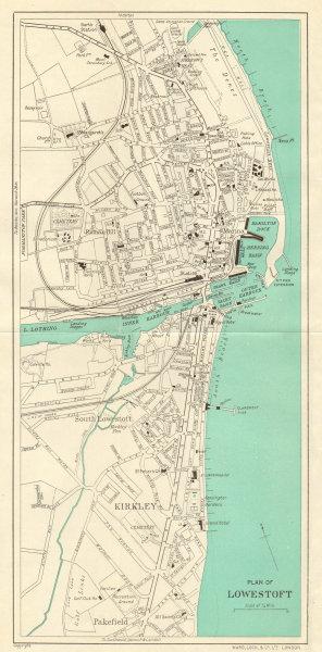 Associate Product LOWESTOFT vintage town/city plan. Suffolk. Kirkley. WARD LOCK 1938 old map