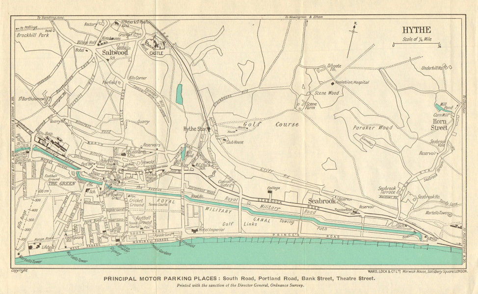 Associate Product HYTHE vintage town/city plan. Saltwood Kent. WARD LOCK 1952 old vintage map