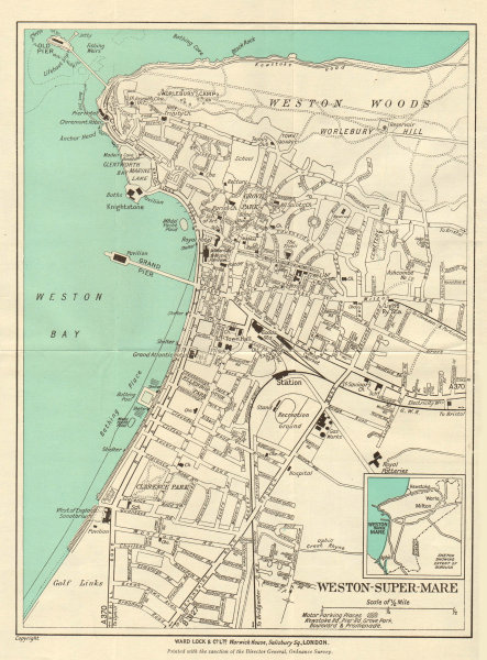Associate Product WESTON-SUPER-MARE vintage town/city plan. Somerset. WARD LOCK 1946 old map
