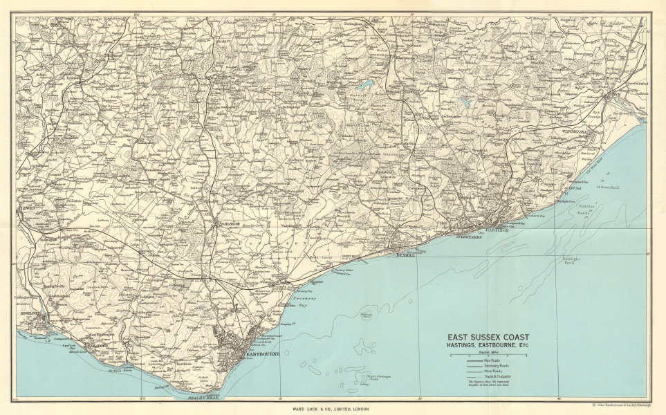 Associate Product EAST SUSSEX COAST. Hastings Eastbourne Rye Bexhill Beachy Head 1961 old map