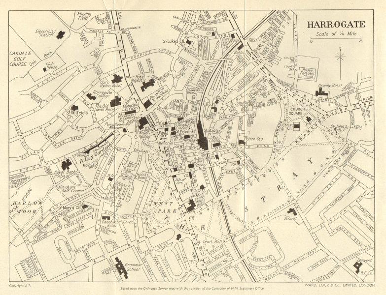 HARROGATE vintage town/city plan. Yorkshire. WARD LOCK 1961 old vintage map