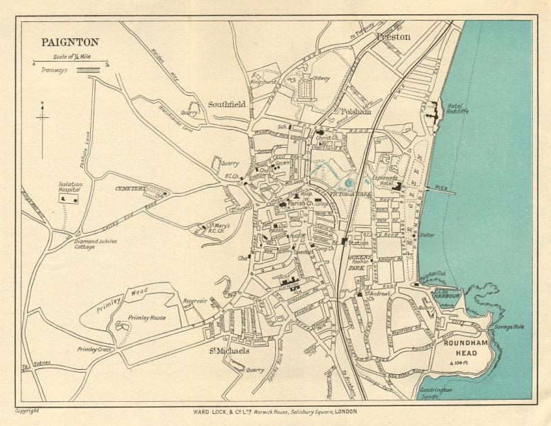 Associate Product PAIGNTON vintage town/city plan. Devon. Roundham Head. WARD LOCK 1923 old map