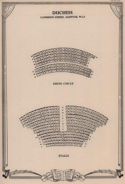 Duchess Theatre, Aldwych, Covent Garden, London. Vintage seating plan 1955