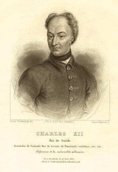 Charles XII, King of Sweden, defender of Polish nationality 1839 old print
