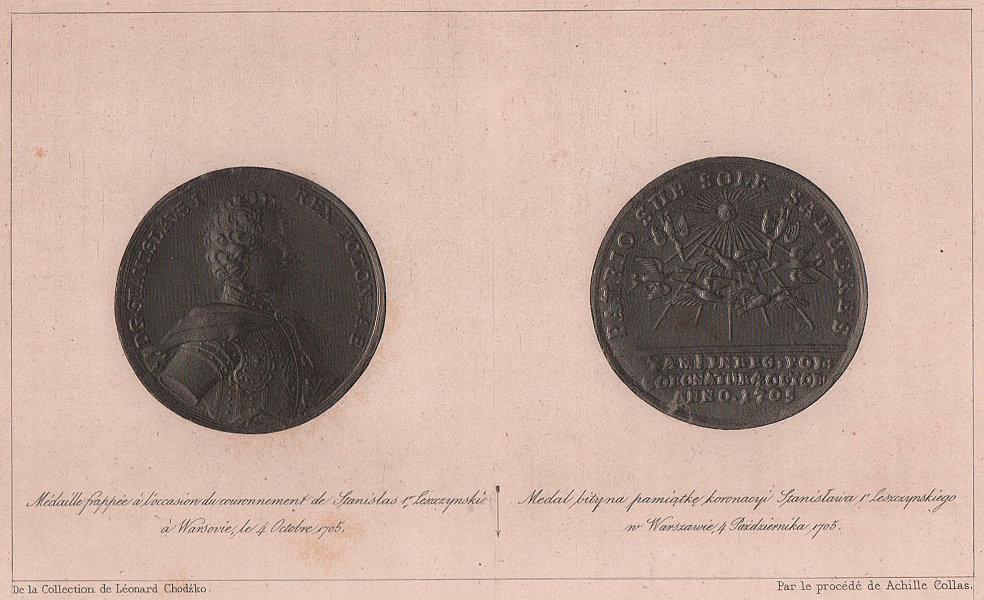 Stanislaw Leszczynski coronation medal. Warsaw 1705. Poland 1839 old print