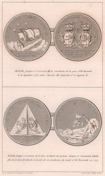 Altranstädt Treaty medals 1706-7. Charles Stanislaw Augustus Sobieski 1839