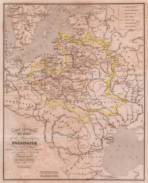 République polonaise. Poland. Charles XII's Expeditions. CHODZKO 1839 old map